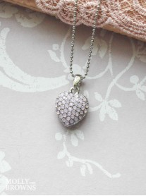 Silver Light Pink Diamante Heart Pendant Necklace