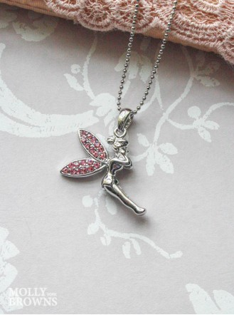 Silver Pink Diamante Fairy Pendant Necklace