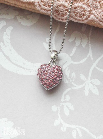 Silver Pink Diamante Heart Pendant Necklace