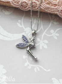 Silver Purple Diamante Fairy Pendant Necklace