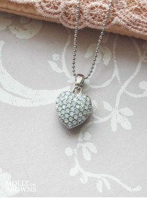 Silver White Diamante Heart Pendant Necklace