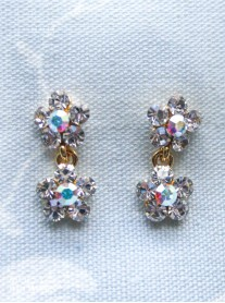 Small Daisy Clear/AB Crystal 2 Drop Gold Earrings