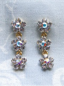 Small Daisy Clear/AB Crystal 3 Drop Gold Earrings