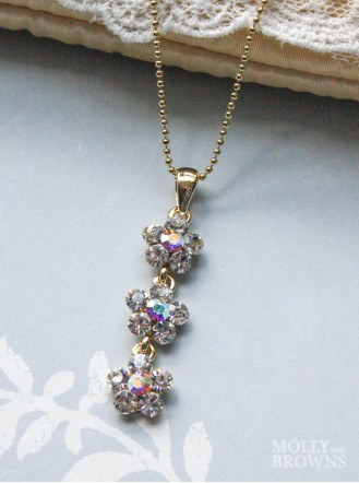 Small Daisy Clear/AB Crystal 3 Drop Gold Necklace
