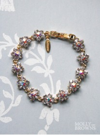 Small Daisy Clear/AB Crystal Gold Bracelet