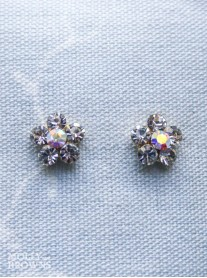Small Daisy Clear/AB Crystal Gold Stud Earrings