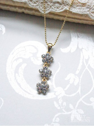Small Daisy Clear Crystal 3 Drop Gold Necklace