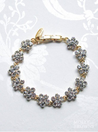 Small Daisy Clear Crystal Gold Bracelet