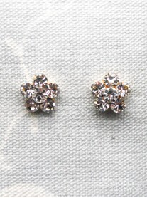 Small Daisy Clear Crystal Gold Stud Earrings