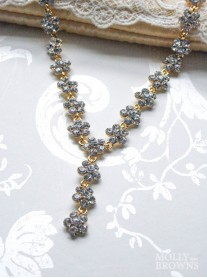 Small Daisy Clear Crystal Y Drop Gold Necklace