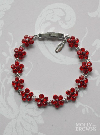 Small Daisy Red Crystal Bracelet