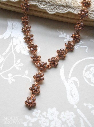 Small Daisy Rose Gold Crystal Y-Drop Necklace