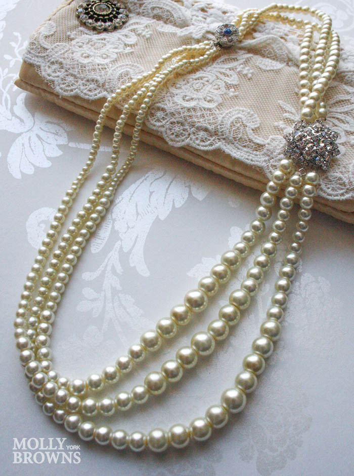 3 Strand Pearl Crystal Necklace - Small