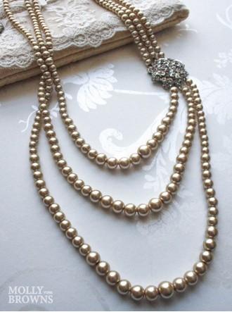 3 Strand Pearl Crystal Necklace - Latte