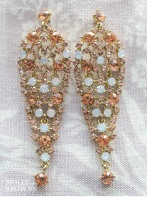 Vintage Gold Diamante Large Drop Earrings
