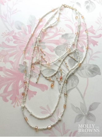 3 Strand Beaded Beach Necklace