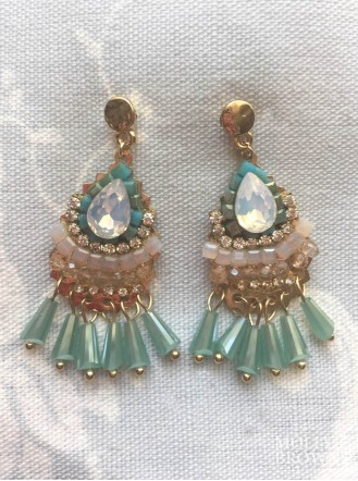 Aqua Gem & Crystal Earrings