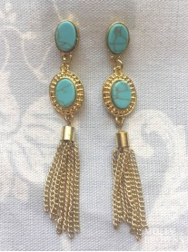 Aqua Marble Gold Drop Earrings