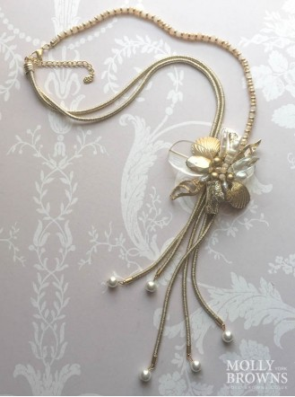 Golden Flower Pearl Beach Necklace