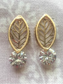 Golden Leaf & Diamante Earrings