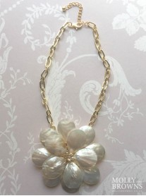 Large Gold Flower Summer Necklace