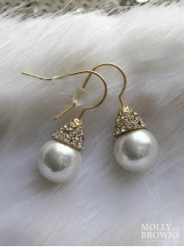 Gold Diamante Cluster Pearl Earrings