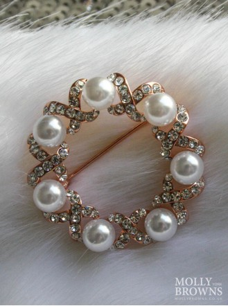 Rose Gold Pearl & Diamante Brooch