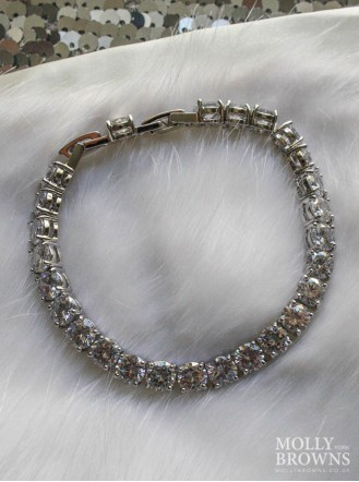Silver Linked Diamante Bracelet