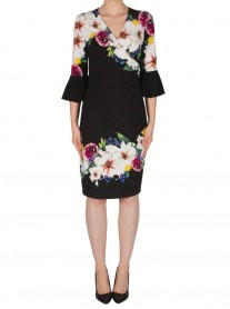 182710 Dress - Black/Multi (Joseph Ribkoff)