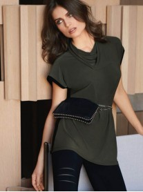 183176 Tunic - Avocado/Black (Joseph Ribkoff)