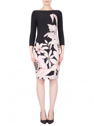 184788 Dress - Black & Blush (Joseph Ribkoff)