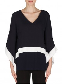 181285 Tunic - Midnight/Off-White (Joseph Ribkoff)