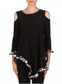 181516 Tunic - Black/White (Joseph Ribkoff)