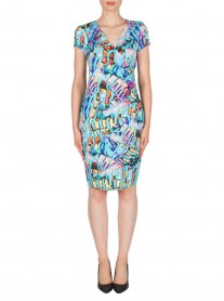 181673 Dress - Aqua/Multi (Joseph Ribkoff)