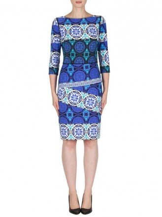 181689 Dress - Blue/Multi (Joseph Ribkoff)