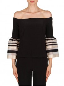 181912 Top - Black/Beige (Joseph Ribkoff)