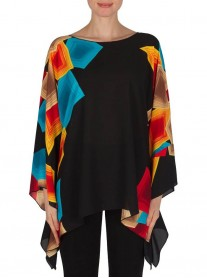 182612X Top - Black/Multi (Joseph Ribkoff)