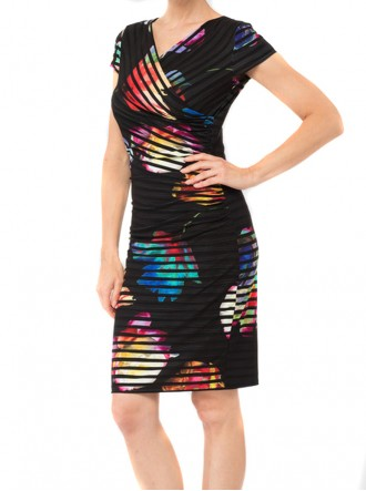 184658 Dress - Black/Multi (Joseph Ribkoff)