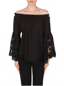 173286 Top - Black / Off-White (Joseph Ribkoff)