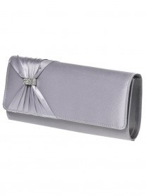 Brenda - Light Grey/Silver Clutch Bag (Lexus)
