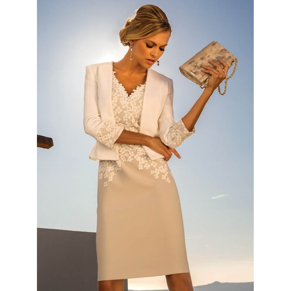 0bc75fd5acd758 Off-White/Dune Dress & Jacket (Linea Raffaelli) - 181-002-01 | Occasion  Wear by Molly Browns