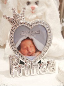 Silver Diamante Baby Photo Frame - Prince