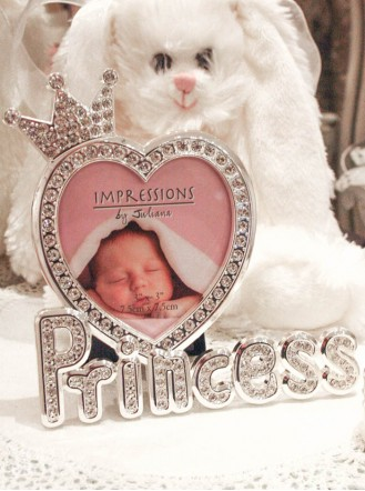 Silver Diamante Baby Photo Frame - Princess