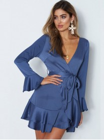 Meant To Be - Blue Frill Wrap Dress