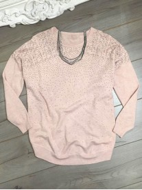 Cascade Pattern Beaded Jumper - Pink
