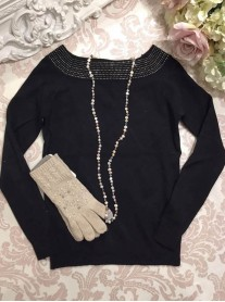 Embellished Collar Jumper - Black