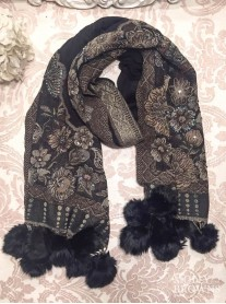 Faux Fur Pom Pom Beaded Scarf - Black