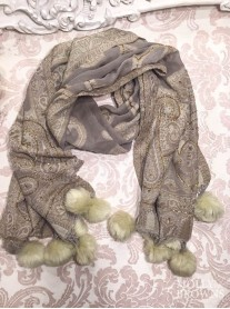 Faux Fur Pom Pom Beaded Scarf - Cream