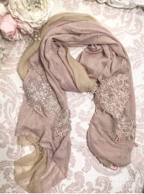 Floral Embellished Silk Scarf - Rose Gold