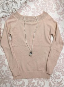 Embellished Collar Jumper - Pink